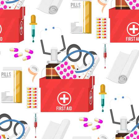 Medical instruments and doctor tools medicament seamless pattern background cartoon style medication hospital health treatment vector illustration. Emergency healthy professional first aid kit. Ilustração