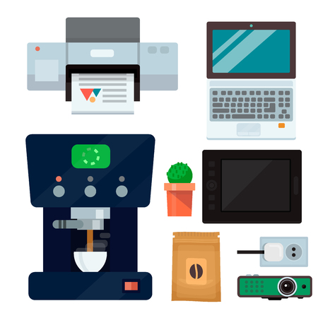 Computer office equipment technic gadgets modern workplace communication device laptop monitor printer keyboard vector illustration. Office electronics digital vector tools.