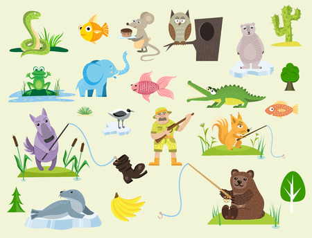 Snake character wildlife nature viper mouse owl frog flat python man character predator animal. Cartoon danger tongue poisonous. Common reptile vector illustration. 일러스트