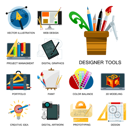 Creativity icons imagination vector illustration abstract colorful flat creative process design development elements for mobile and web applications. Ilustrace