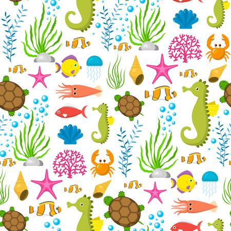 Aquatic funny sea animals underwater creatures cartoon characters shell aquarium seamless pattern background vector illustration. Beach nature sea bowl elements sea-life. Illustration