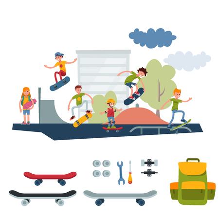 Young skateboarder active people park sport extreme outdoor active skateboarding urban jumping tricks vector illustration.. Freestyle boarding skatepark Illustration