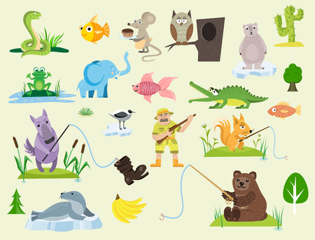 Wildlife elements vector illustration Ilustrace