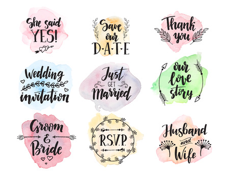 Wedding day marriage proposal phrases text lettering invitation cards calligraphy hand drawn greeting love label romantic vector illustration. Illusztráció