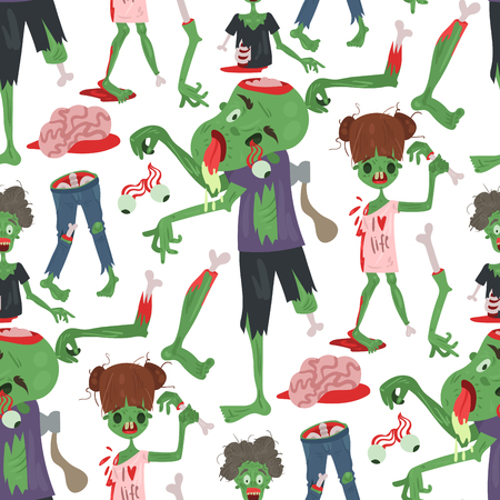 Colorful zombie scary cartoon halloween magic people body green character seamless pattern background part monsters vector illustration.