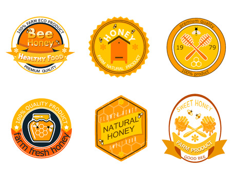 Set bee logo labels for honey logo products organic farm emblem natural sweet product hight quality healthy food vector illustration. farming yellow hive bio sticker nectar.