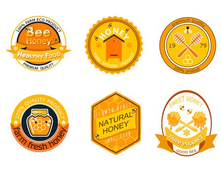 꿀 제품 유기농 농장 자연 달콤한 제품 품질 건강 식품 벡터 일러스트 레이 션에 대 한 꿀벌 로고 레이블을 설정합니다. 스톡 콘텐츠 - 99599069