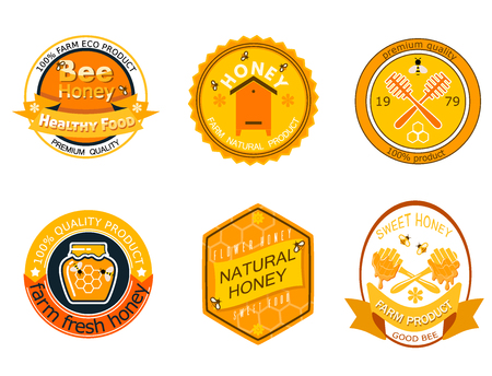 Set bee logo labels for honey products organic farm natural sweet product quality healthy food vector illustration.