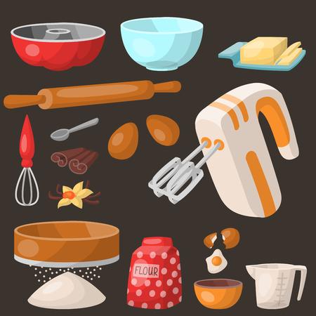 Backen Gebäck Vorbereitung Kochen Zutaten Küchenutensilien Kochen hausgemachte Bäckerei Bäckerei Vektor-Illustration Standard-Bild - 99636791