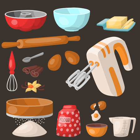Baking pastry prepare cooking ingredients kitchen utensils homemade food preparation baker vector illustration. Illusztráció
