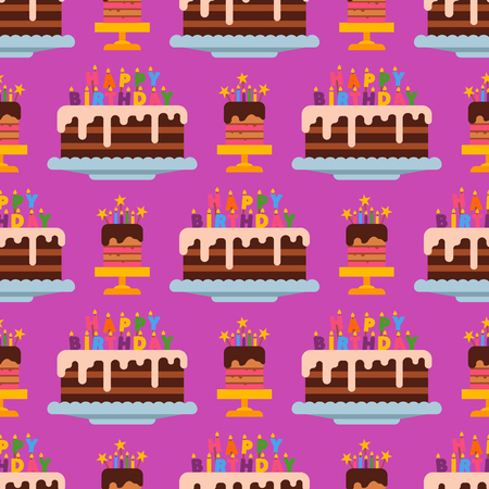 Wedding or Birthday pie cakes flat sweets dessert bakery ceremony delicious seamless pattern background vector illustration.