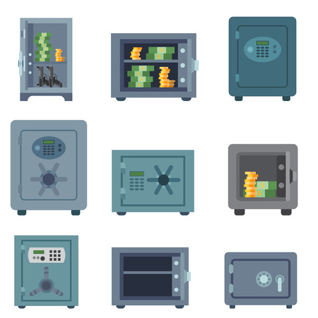 Money safe steel vault door finance business concept safety business box cash secure protection deposit vector illustration. Metal storage lock currency banking treasure. Illustration