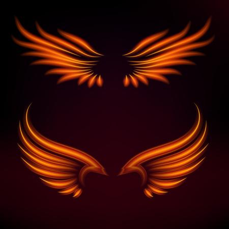 Vogelfeuer beflügelt brennende Kunst des mystischen brennenden Brandes des Glühens der Vektorphantasiefeder heißen Flügelillustration auf Schwarzem. Standard-Bild - 99637574