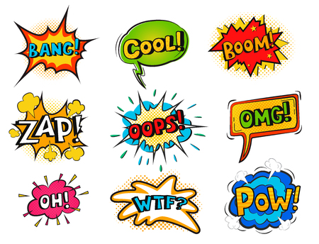 Pop art comic speech bubble boom effects vector explosion bang communication cloud fun humor book splash illustration. Illustration