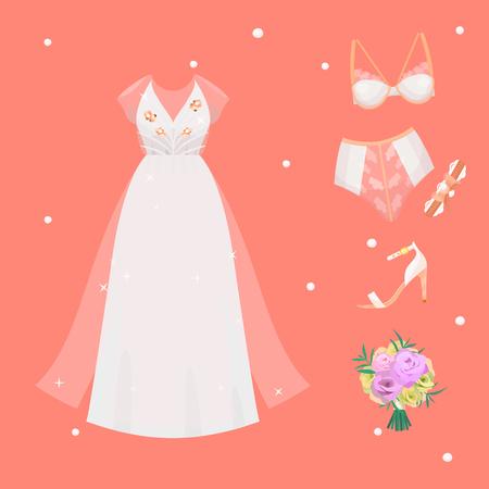 웨딩 신부 드레스 액세서리 벡터 축 하 그림 패션 신부 디자인 현대 결혼 액세서리 실루엣