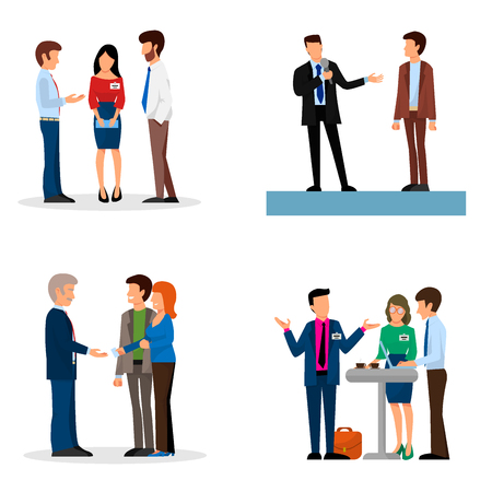 Business people vector groups presentation to investors conferense teamwork meeting characters interview illustration. Çizim