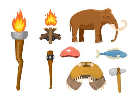 Edad de piedra vector aborigen primigenia histórica caza primitiva gente arma y casa vida símbolos ilustración.