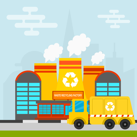 Waste recycling vector garbage process factory truck brought processing industry processed manufacturing production illustration. Illustration