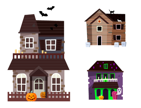 Dark mysterious obscure gloomy terrible witch castle with spooky for Halloween design vector illustration Vettoriali