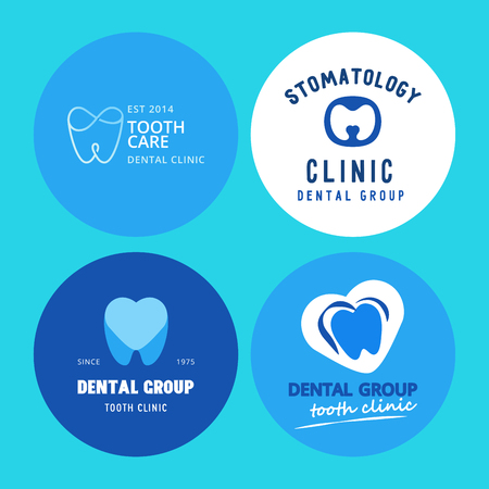 A Vector dental logo protection template illustration stomatology mouth graphic oral element