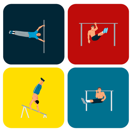 Horizontal bar chin-up strong athlete man gym exercise street workout tricks muscular fitness sport pulling up character vector illustration. Vectores