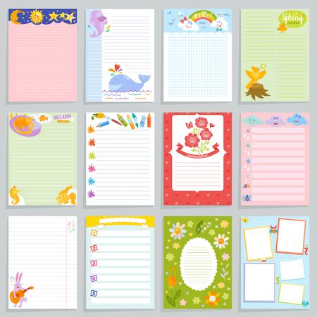 Journal d'enfants vecteur cahier enfantin vierge et modèle de page enfant de livre d'enfants pour des notes ou une illustration de mémo. Ensemble d'organisateur de l'enfant pour écrire le fond des rêves.