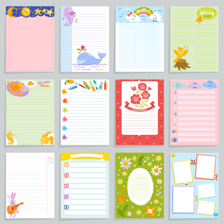 Kids diary vector childish notebook blank and child page template of children book for notes or memo illustration. Set of child's organizer to write dreams background.