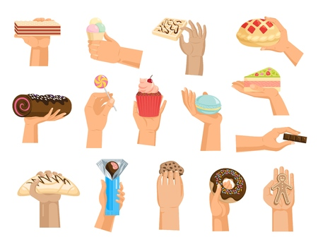 Hands with cake vector arm holding chocolate. Confectionery cupcake and sweet confection dessert of bakery illustration. Set of hand with sweets, isolated on white background.