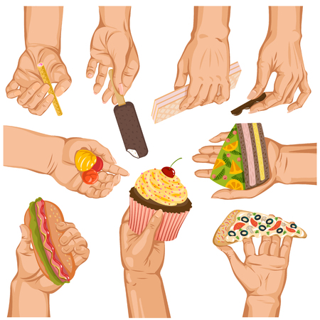 Hands with cake vector arm holding cupcake or sweet confection dessert icecream illustration set of hand with pizza or sweets isolated on white background. Illustration