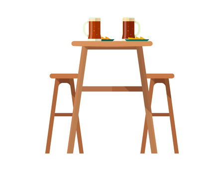Beerhouse furniture vector brewery dining furnishing table and chair with beer mug in bar or pub on beery party with alcohol illustration isolated on white background. Stock Illustratie