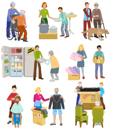 Charity vector volunteer people caring elderly disabled or blind characters and volunteering donation or welfare illustration set voluntary social community isolated on white background