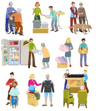 Freiwillige Menschen des Wohltätigkeitsvektors, die sich um ältere behinderte oder blinde Charaktere kümmern, und freiwillige Spenden oder Wohlfahrtsillustrationen setzen freiwillige soziale Gemeinschaft, die auf weißem Hintergrund isoliert wird