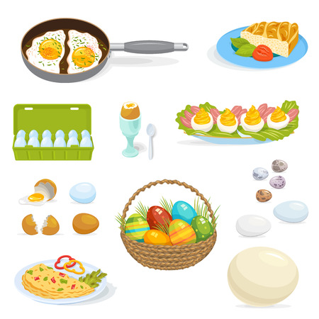 Eggs vector healthy food for breakfast omelet with eggwhite and eggyolk in egg-shell ingredients illustration set of egg-shaped easter symbol isolated on white background
