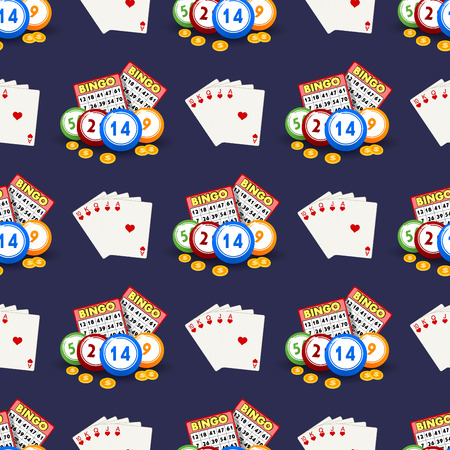 Casino gambling win luck fortune gamble play game seamless pattern background.