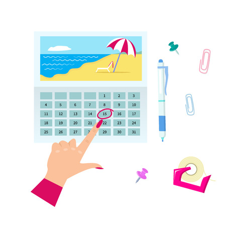Agenda list concept vector illustration. Business paper clipboard in flat style. Illustration