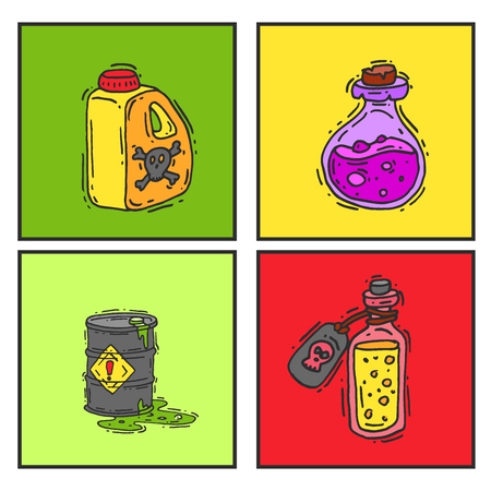 Bottle with potion game magic glass cards elixir poisoning toxic substance dangerous toxin drug container vector illustration. Çizim