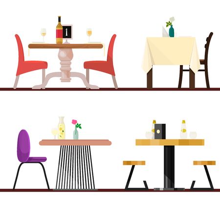 Cafe tables in restaurant setting vector dining furniture table and chair for romantic lunch dinner date in cafeteria illustration isolated on white background Illustration