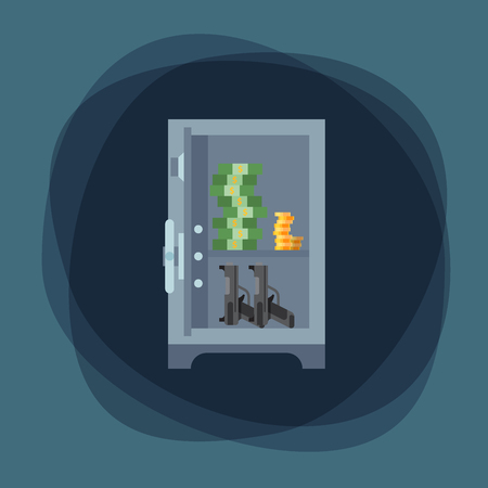 Money safe steel vault door finance business concept safety business box cash secure protection deposit vector illustration. Metal storage lock currency banking treasure.  イラスト・ベクター素材