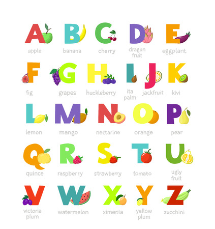 Fruit alphabet vector alphabetical vegetables font and fruity apple banana letter illustration alphabetically set of abc text with watermelon tomato and strawberry isolated on white background.