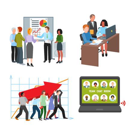 Team Arbeit Menschen Brainstorming Business Konzept Symbole bunte bunte Design Vektor-Illustration Elemente Standard-Bild - 101007497