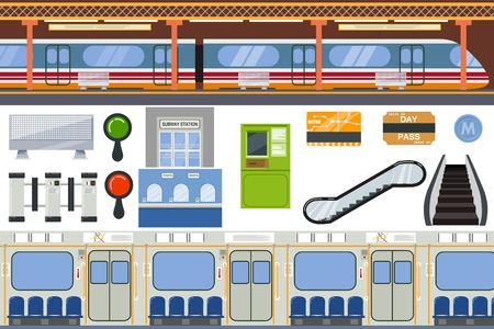 Subway vector metro or underground and urban public transport in tube illustration set of station inside underpass transportation