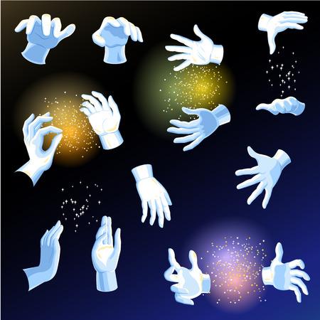 Magiczne ręce wektor magik lub iluzjonista trzymający magiczną różdżkę lub świecącą piłkę w ramionach ilustracja kreskówka postać ręce pokazując tajemnicę wydajności na białym tle na tle