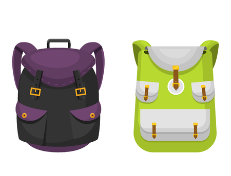 Back to School kids backpack vector illustration work time education baggage rucksack learning luggage.