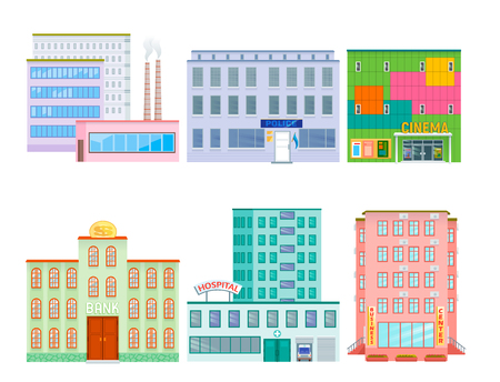 City public buildings houses flat design office architecture modern street construction apartment vector illustration. Residential tower downtown facade.