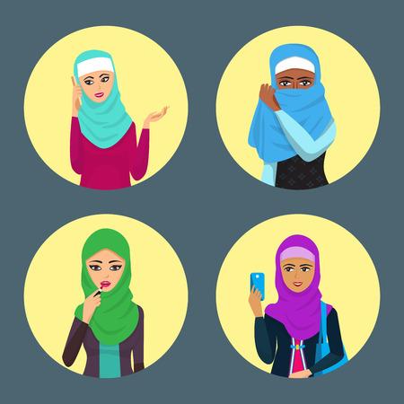 Arabische Frau erwachsenen Charakter arabische Asien Nationalität islamische Mädchen Gesicht in Hijab Vektor-Illustration Standard-Bild - 101044580