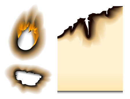Burnt piece burned faded paper hole realistic fire flame isolated page sheet torn ash vector illustration Фото со стока - 101044640