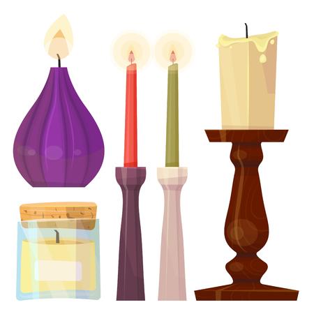 Celebration glowing religion candles birthday traditional decoration romance night bright flam burning object vector illustration. Illustration