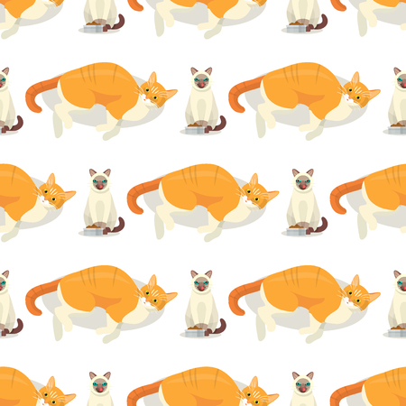 Cat breeds cute kitty pet cartoon cute animal cattish character seamless pattern background catlike illustration