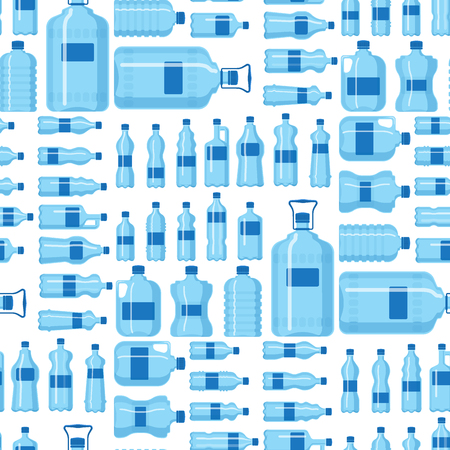 Plastic water bottle vector blank nature blue seamless pattern background clean liquid aqua fluid blank template silhouette template illustration.