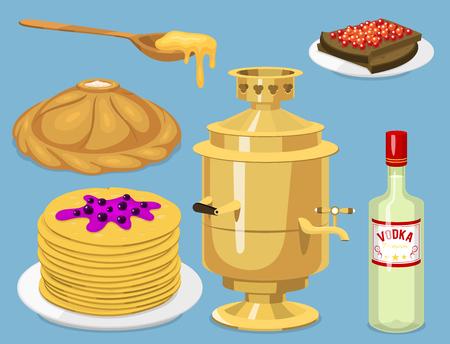 Traditionelle russische Küche Kultur Gericht Geschichte Essen willkommen zu Spanien Kleine Mahlzeit Vektor-Illustration Standard-Bild - 101021745